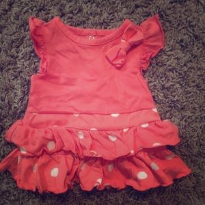 Other - Faded Glory Coral Polka Dot Baby Girl Dress